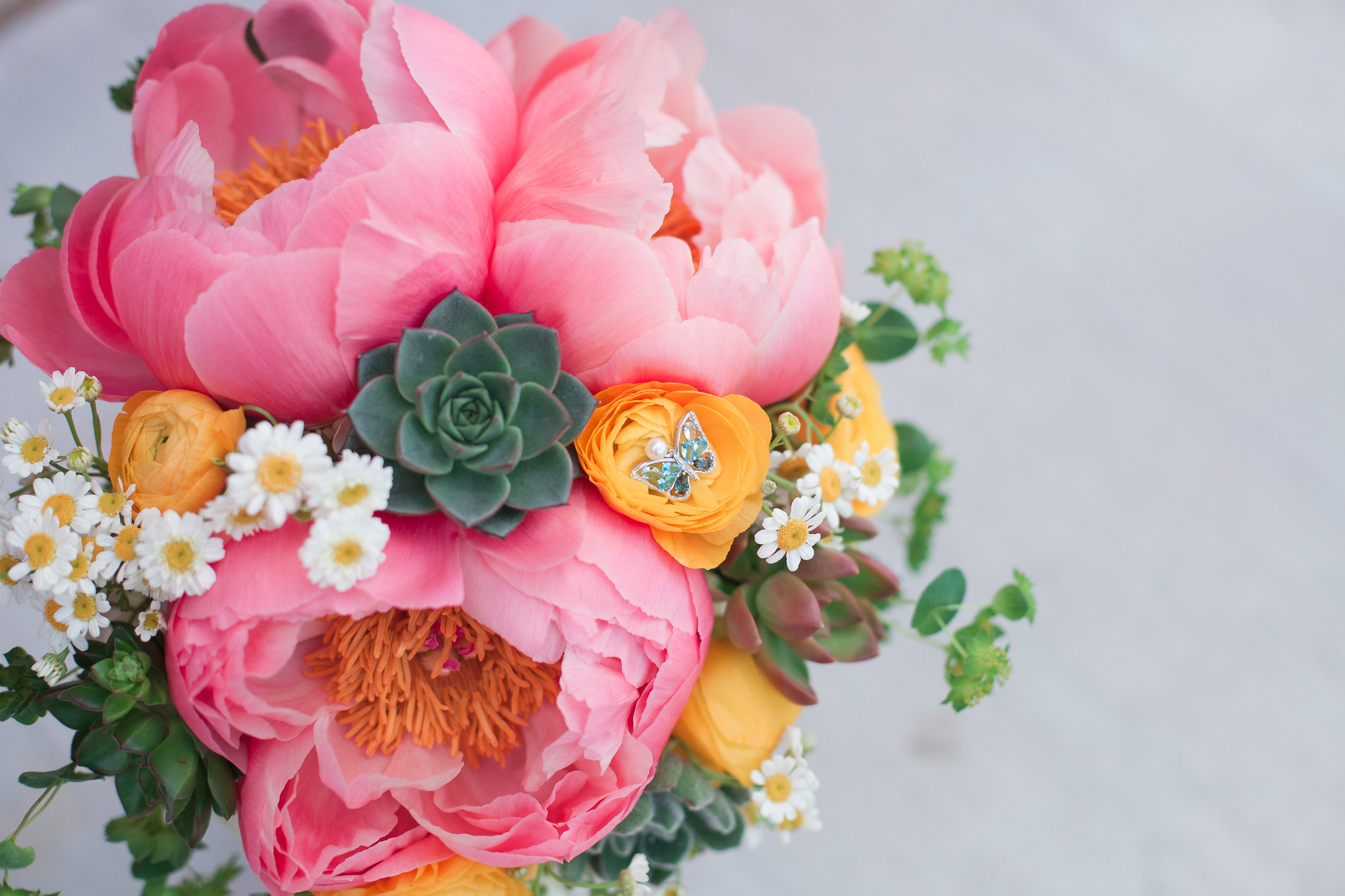 Peony & Succulent Bridal Bouquet - Rustic Grace Estate